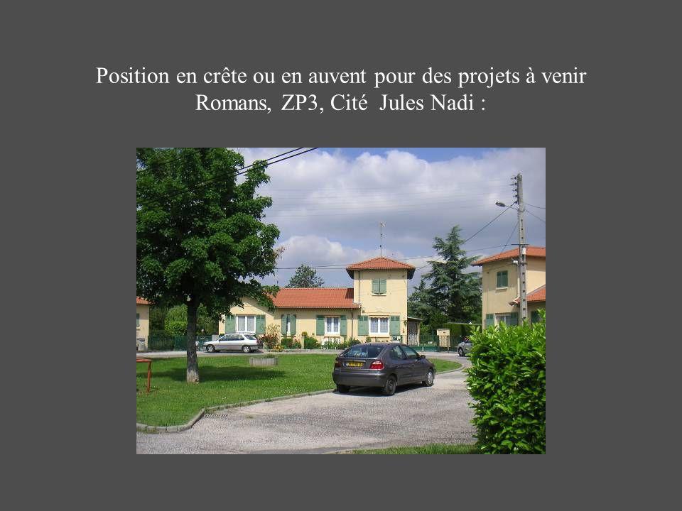 Position en crête ou en auvent pour des projets à venir Romans, ZP3, Cité Jules Nadi :
