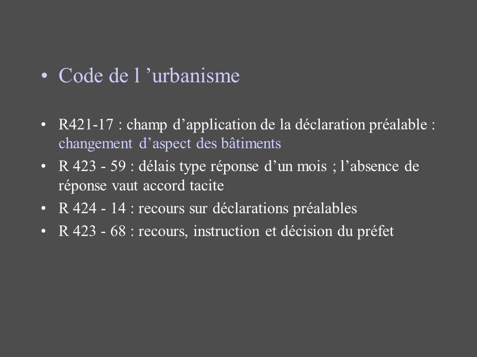 Code de l 'urbanisme R421-17 : champ d'application de la déclaration préalable : changement d'aspect des bâtiments.