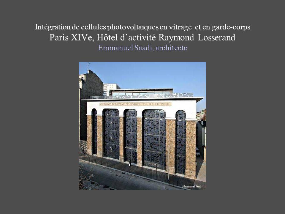 Intégration de cellules photovoltaïques en vitrage et en garde-corps Paris XIVe, Hôtel d'activité Raymond Losserand Emmanuel Saadi, architecte