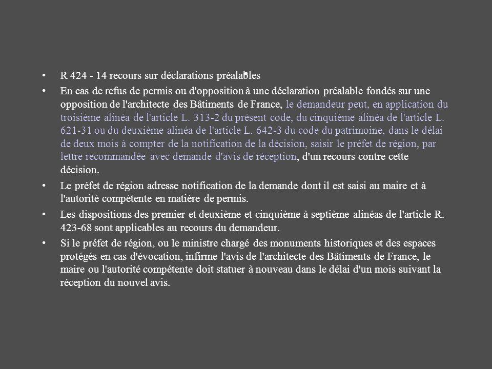 . R 424 - 14 recours sur déclarations préalables