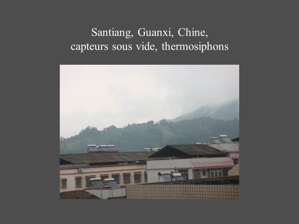 Santiang, Guanxi, Chine, capteurs sous vide, thermosiphons