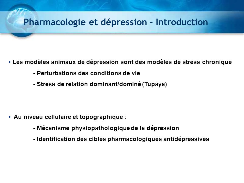 Pharmacologie et dépression – Introduction