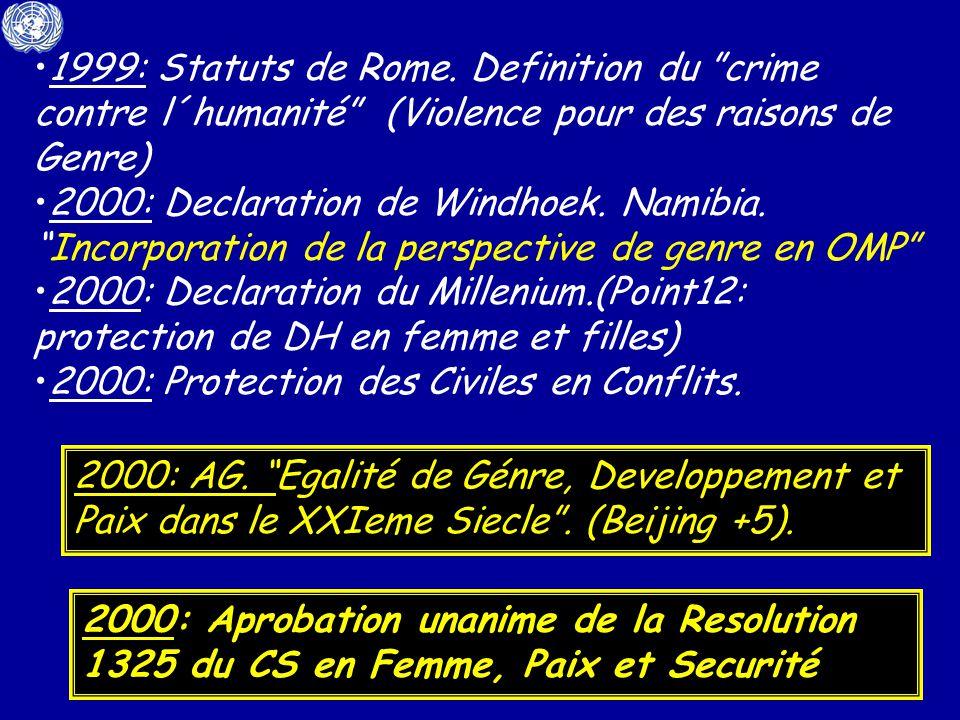 1999: Statuts de Rome. Definition du crime contre l´humanité (Violence pour des raisons de Genre)