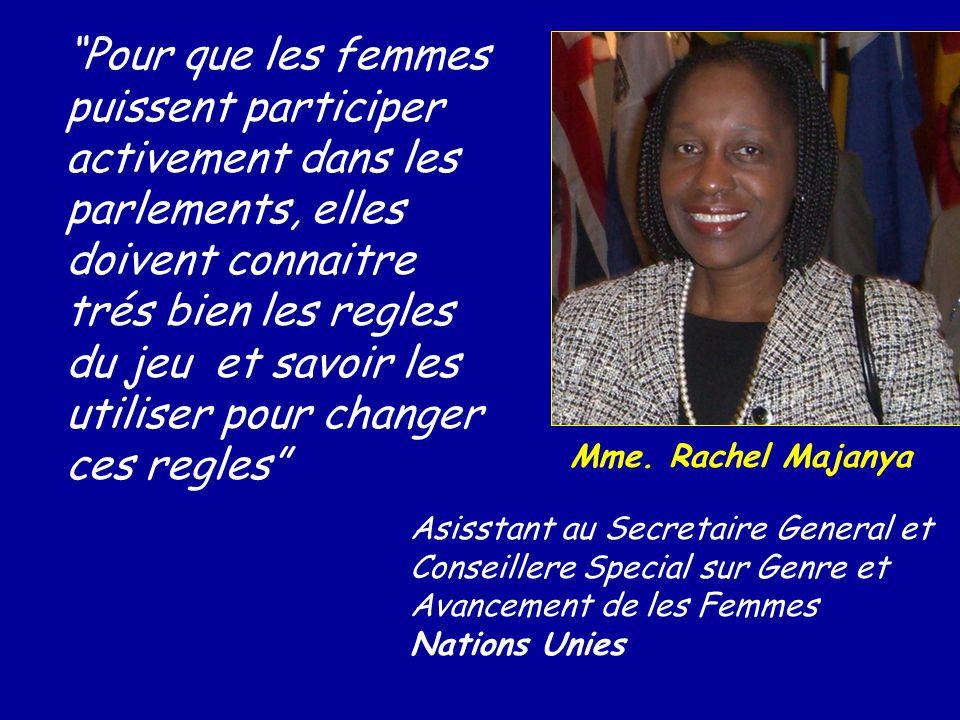 Pour que les femmes puissent participer activement dans les parlements, elles doivent connaitre trés bien les regles du jeu et savoir les utiliser pour changer ces regles
