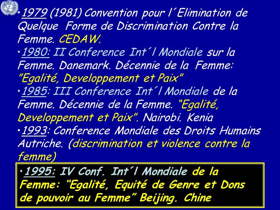 1979 (1981) Convention pour l´Elimination de Quelque Forme de Discrimination Contre la Femme. CEDAW.