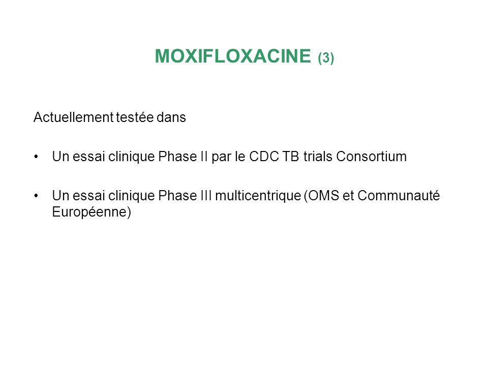 MOXIFLOXACINE (3) Actuellement testée dans
