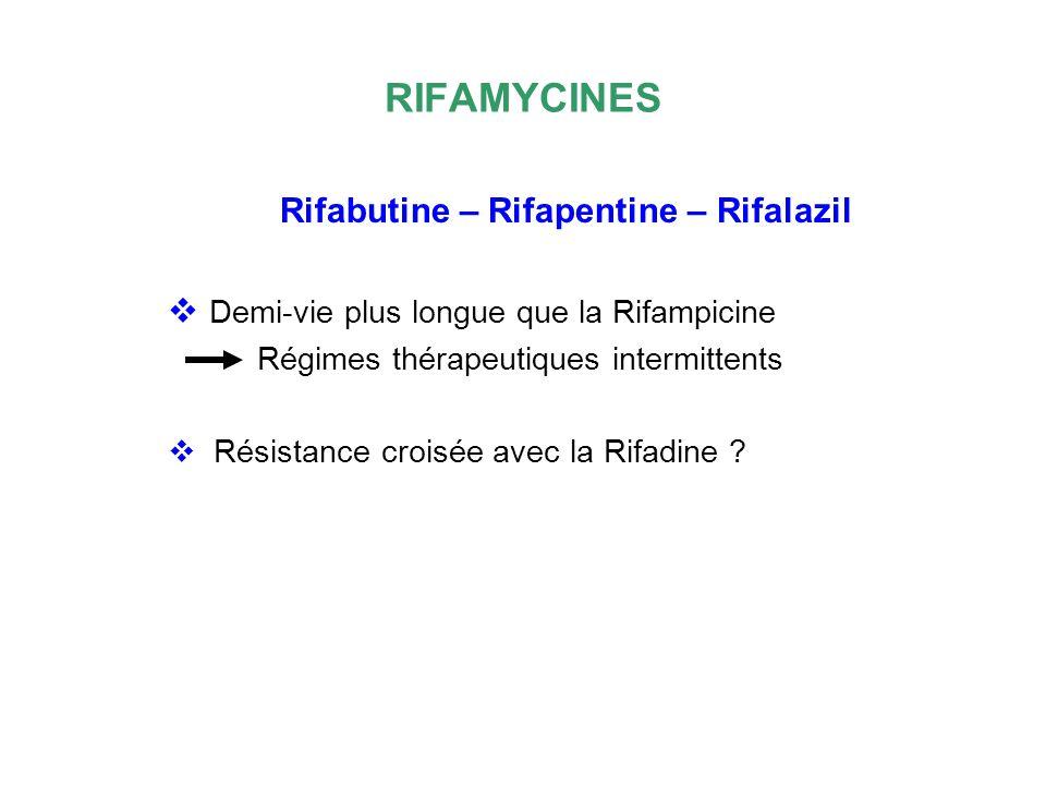 RIFAMYCINES Demi-vie plus longue que la Rifampicine