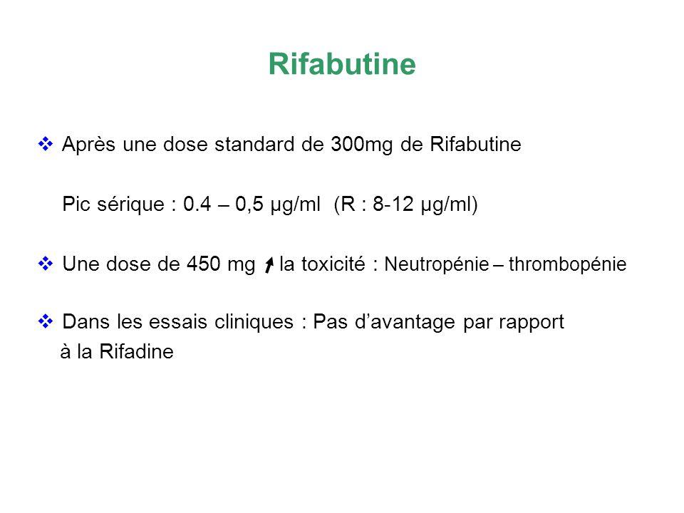 Rifabutine Après une dose standard de 300mg de Rifabutine