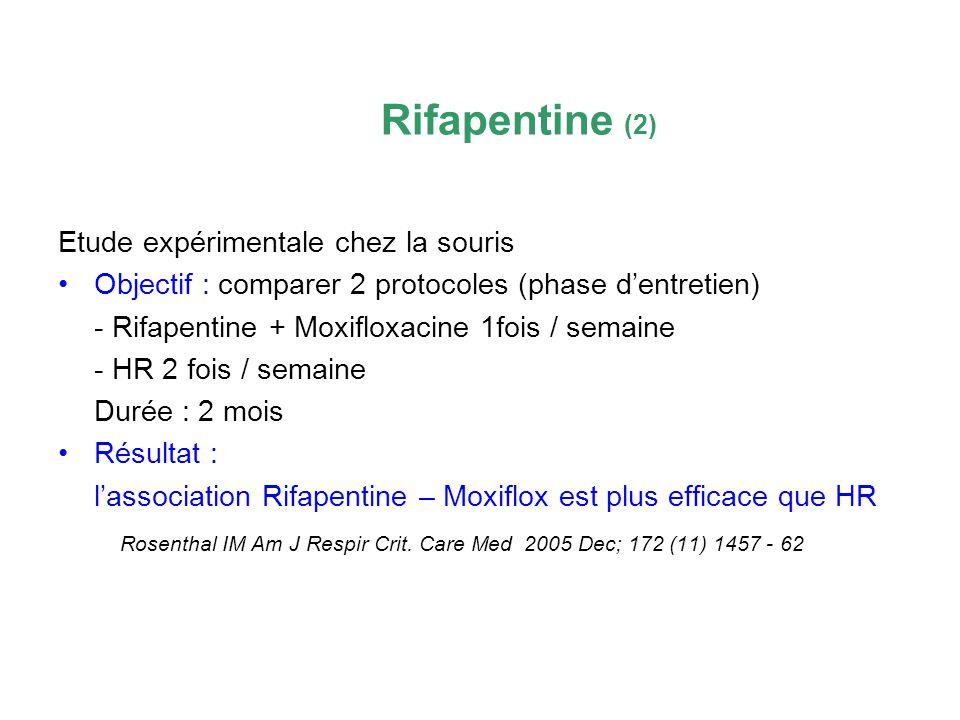 Rifapentine (2) Etude expérimentale chez la souris. Objectif : comparer 2 protocoles (phase d'entretien)
