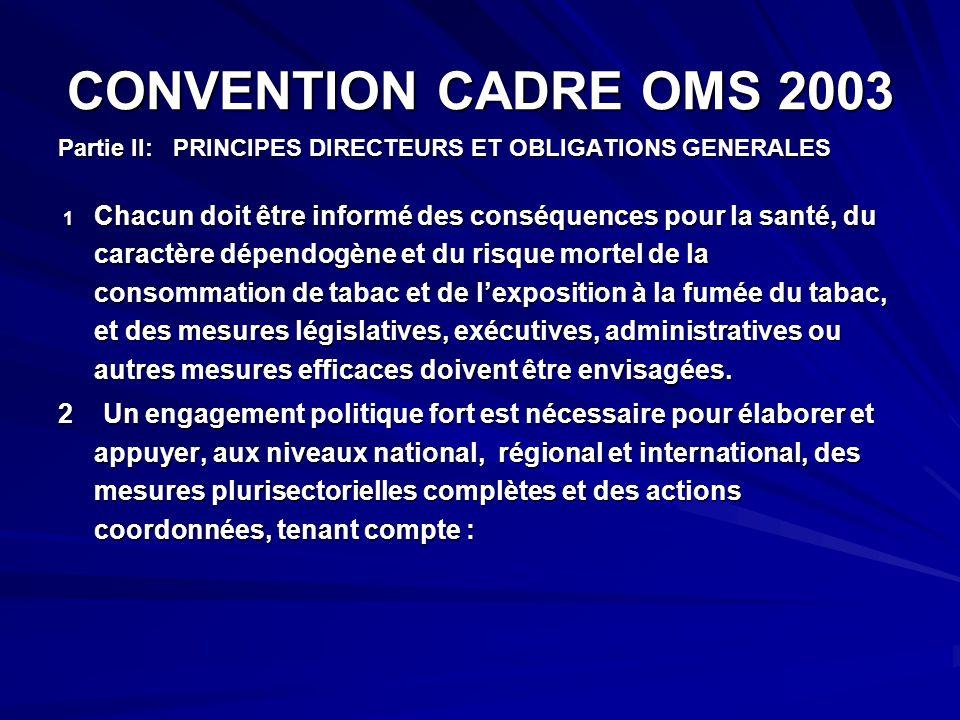 CONVENTION CADRE OMS 2003 Partie II: PRINCIPES DIRECTEURS ET OBLIGATIONS GENERALES.