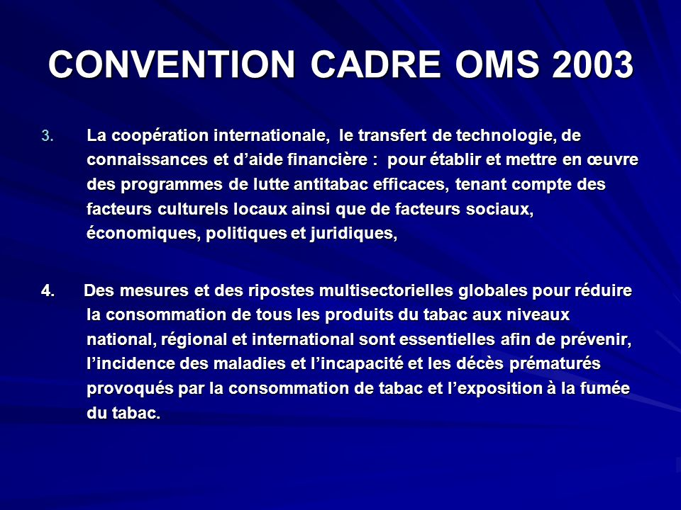 CONVENTION CADRE OMS 2003