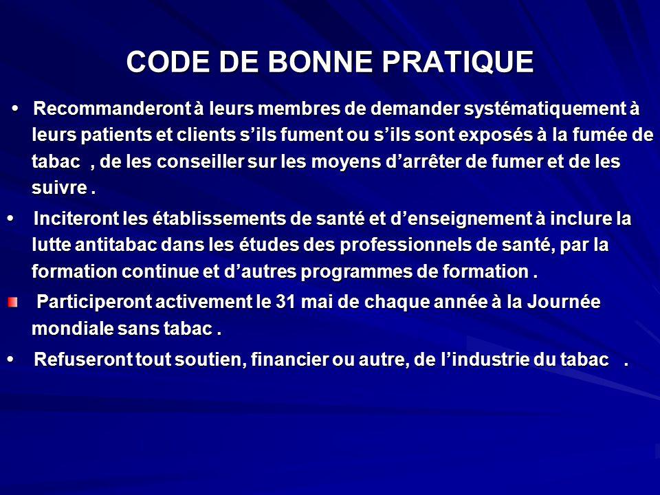 CODE DE BONNE PRATIQUE