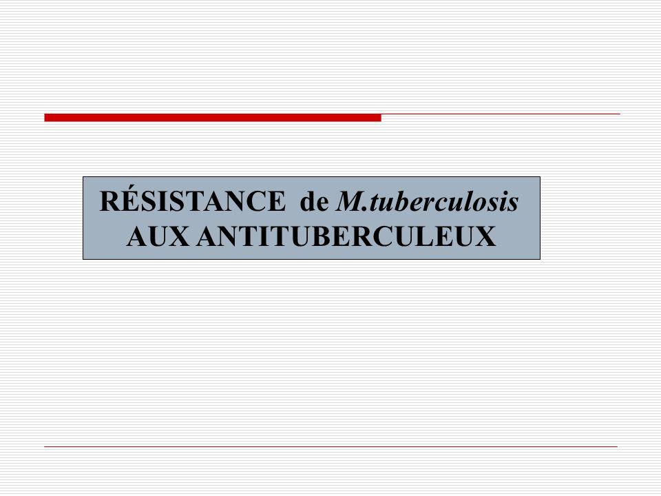 RÉSISTANCE de M.tuberculosis