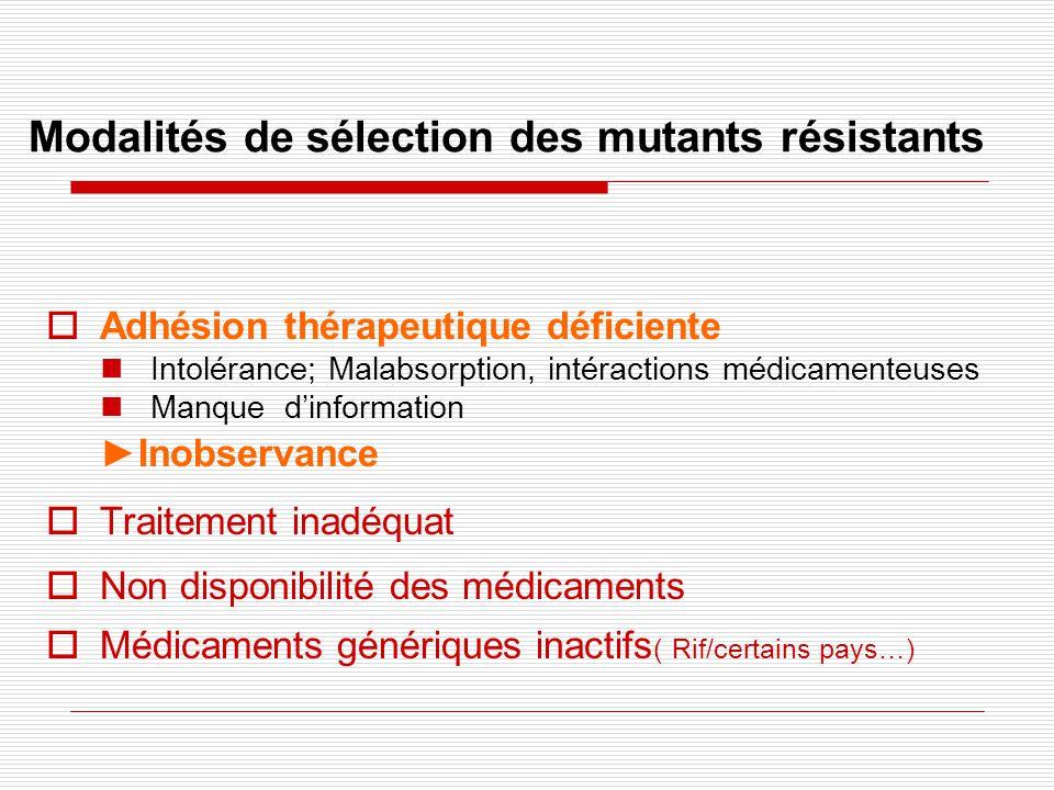 Modalités de sélection des mutants résistants