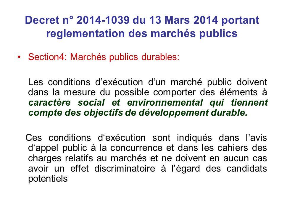 Decret n° 2014-1039 du 13 Mars 2014 portant reglementation des marchés publics