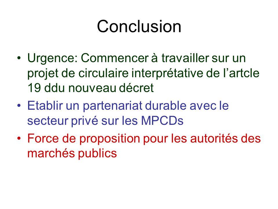 Conclusion Urgence: Commencer à travailler sur un projet de circulaire interprétative de l'artcle 19 ddu nouveau décret.