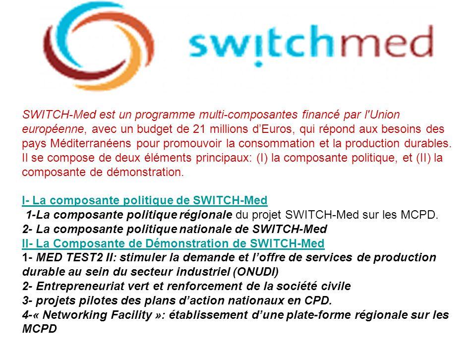 SWITCH-Med est un programme multi-composantes financé par l Union européenne, avec un budget de 21 millions d'Euros, qui répond aux besoins des pays Méditerranéens pour promouvoir la consommation et la production durables.