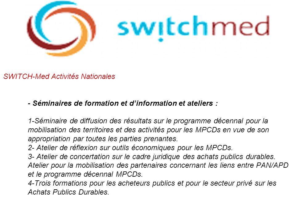 SWITCH-Med Activités Nationales - Séminaires de formation et d'information et ateliers : 1-Séminaire de diffusion des résultats sur le programme décennal pour la mobilisation des territoires et des activités pour les MPCDs en vue de son appropriation par toutes les parties prenantes.