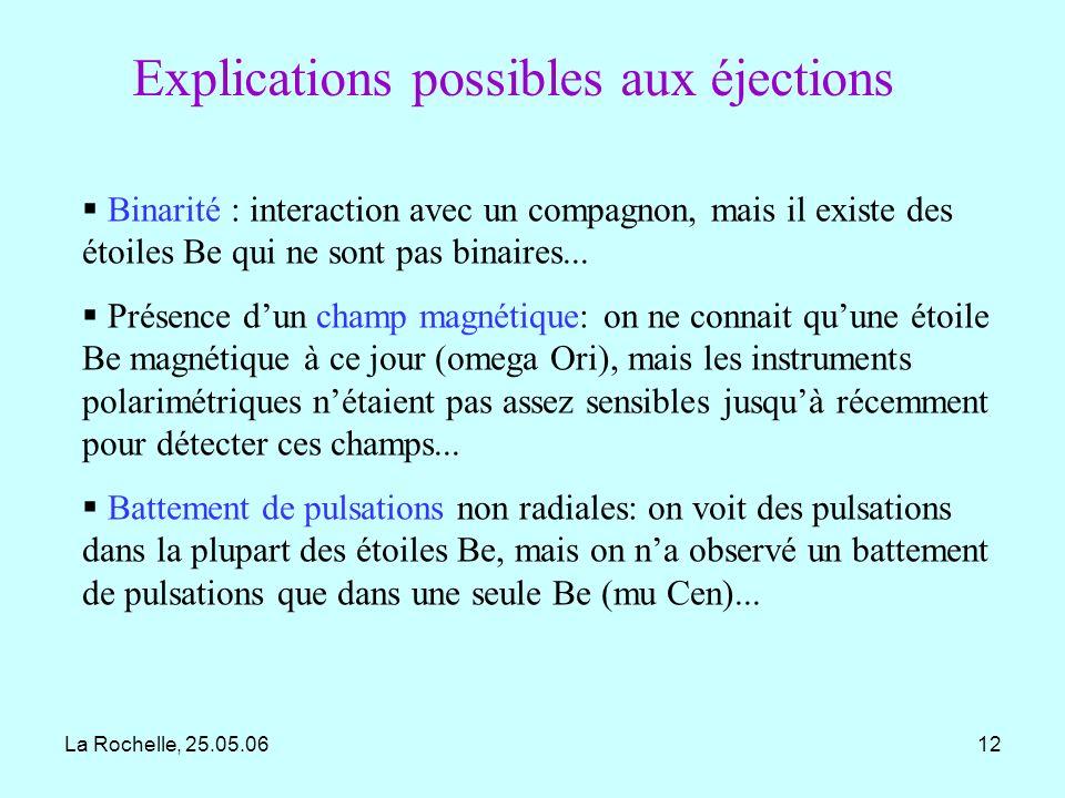 Explications possibles aux éjections