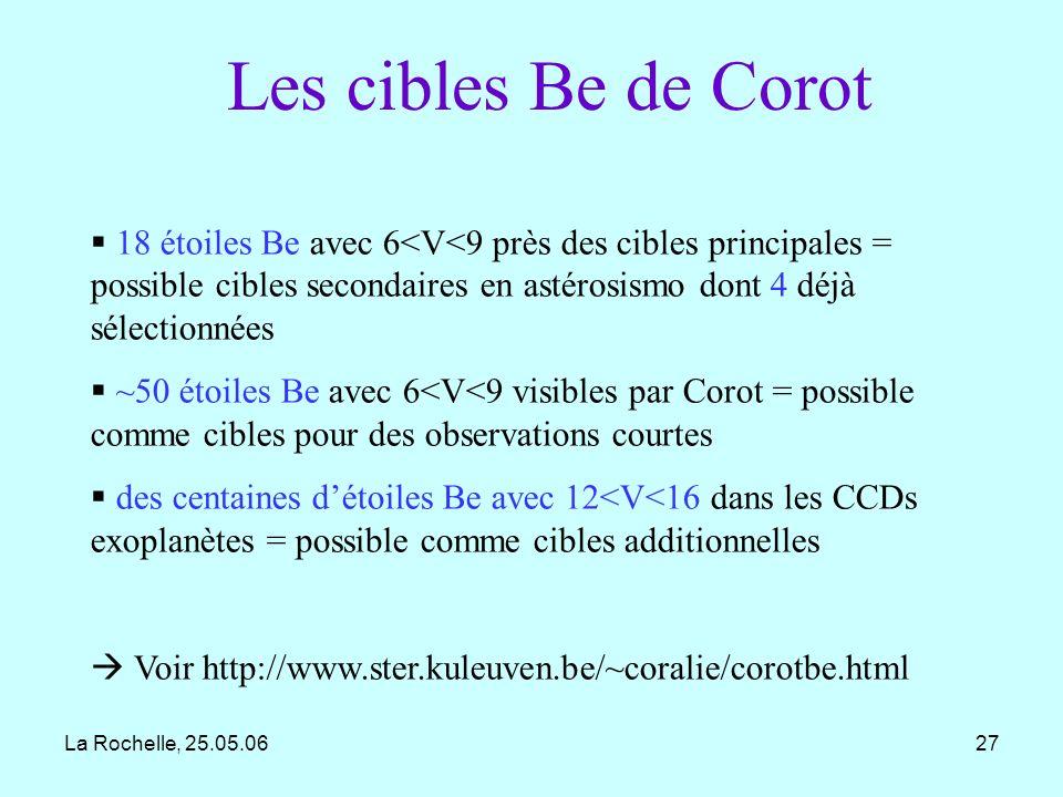 Les cibles Be de Corot 18 étoiles Be avec 6<V<9 près des cibles principales = possible cibles secondaires en astérosismo dont 4 déjà sélectionnées.