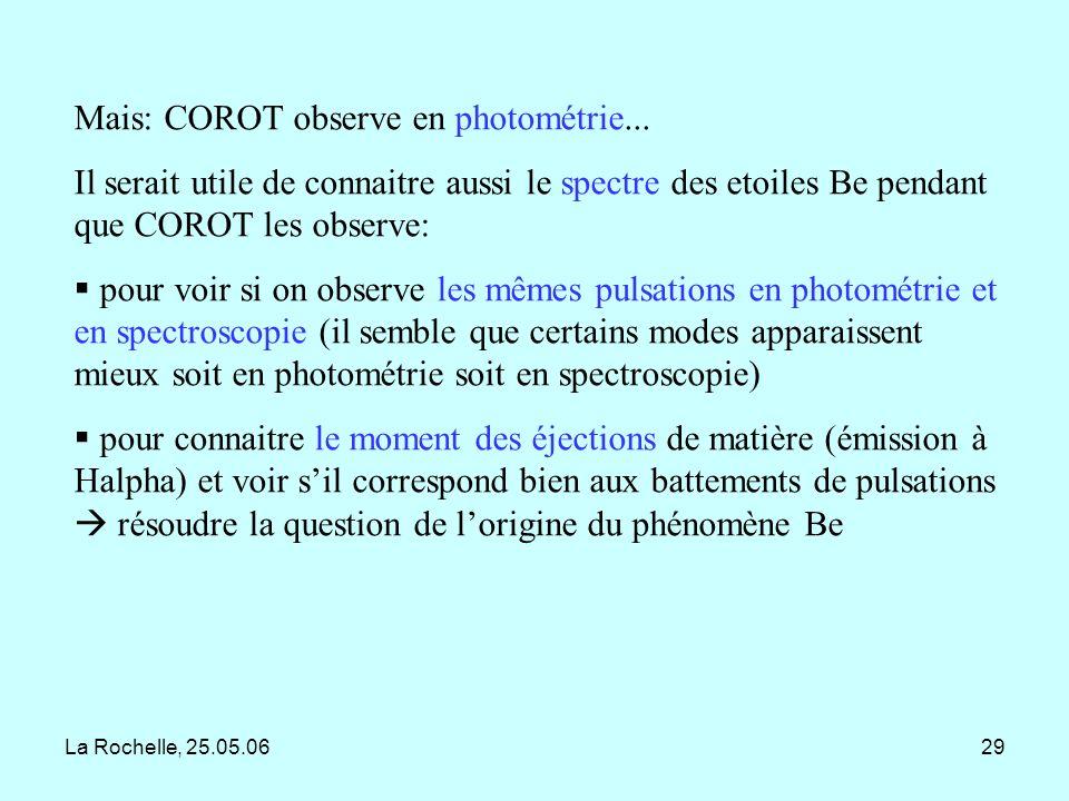 Mais: COROT observe en photométrie...