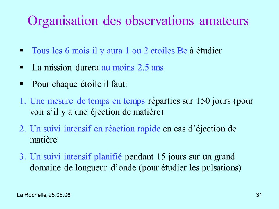 Organisation des observations amateurs