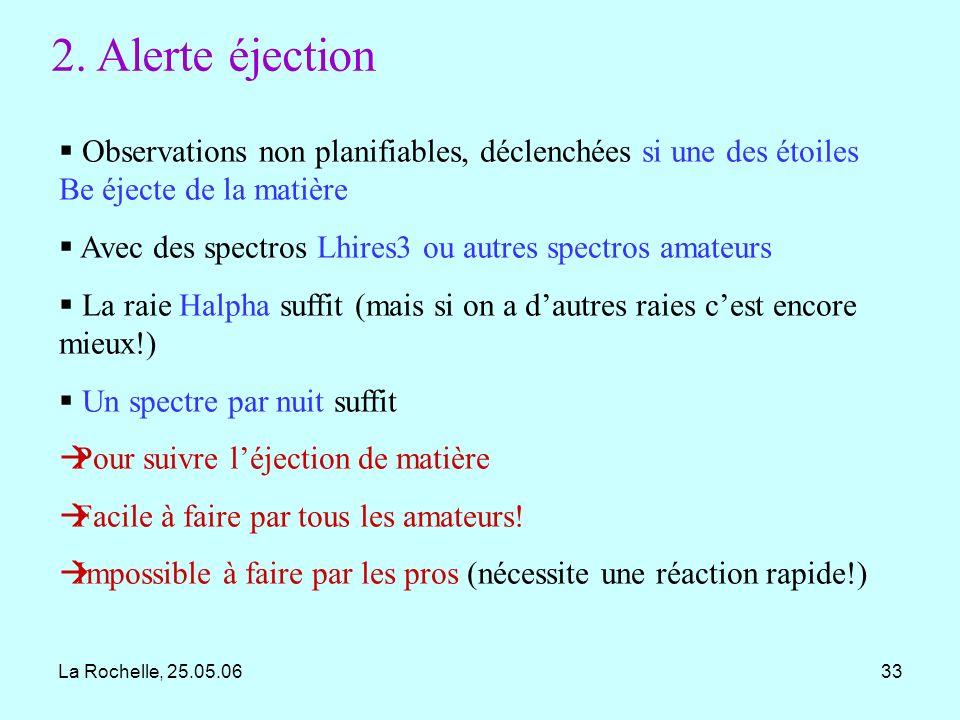2. Alerte éjection Observations non planifiables, déclenchées si une des étoiles Be éjecte de la matière.