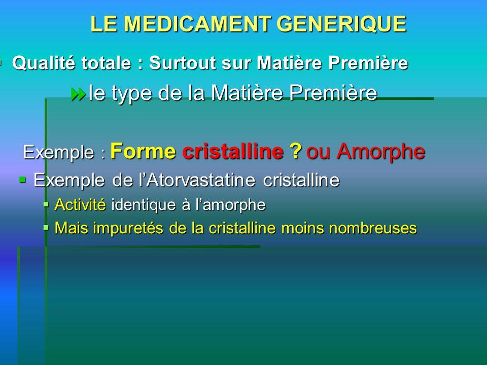 LE MEDICAMENT GENERIQUE