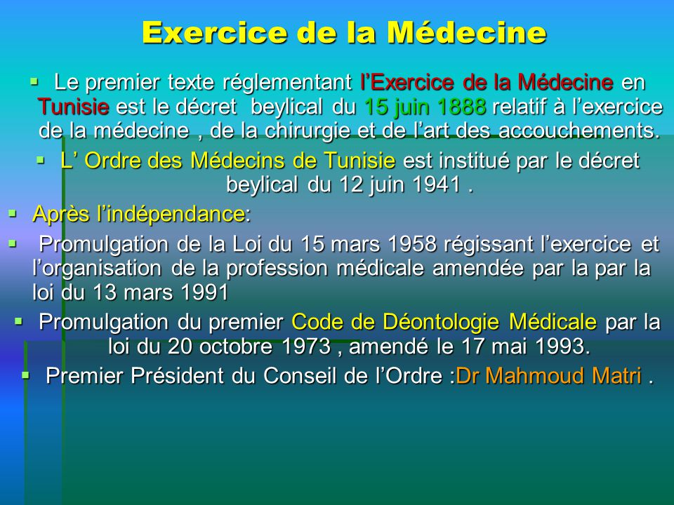 Exercice de la Médecine