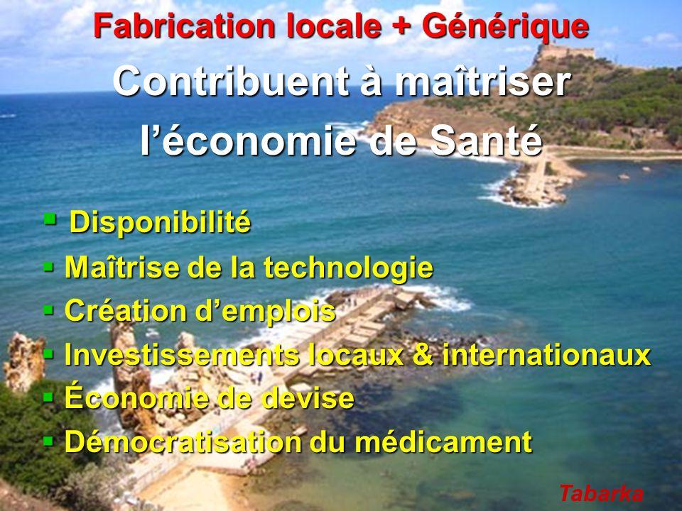Fabrication locale + Générique Contribuent à maîtriser