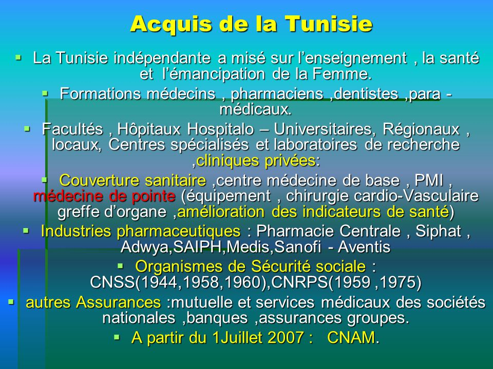 Acquis de la Tunisie La Tunisie indépendante a misé sur l'enseignement , la santé et l'émancipation de la Femme.