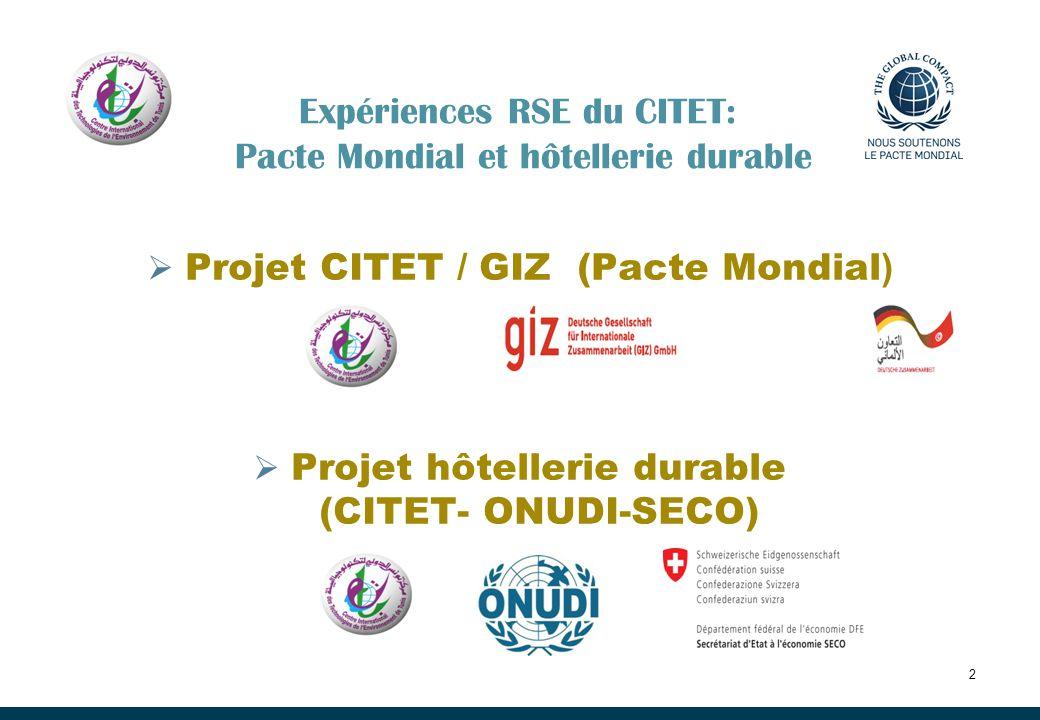 Expériences RSE du CITET: Pacte Mondial et hôtellerie durable
