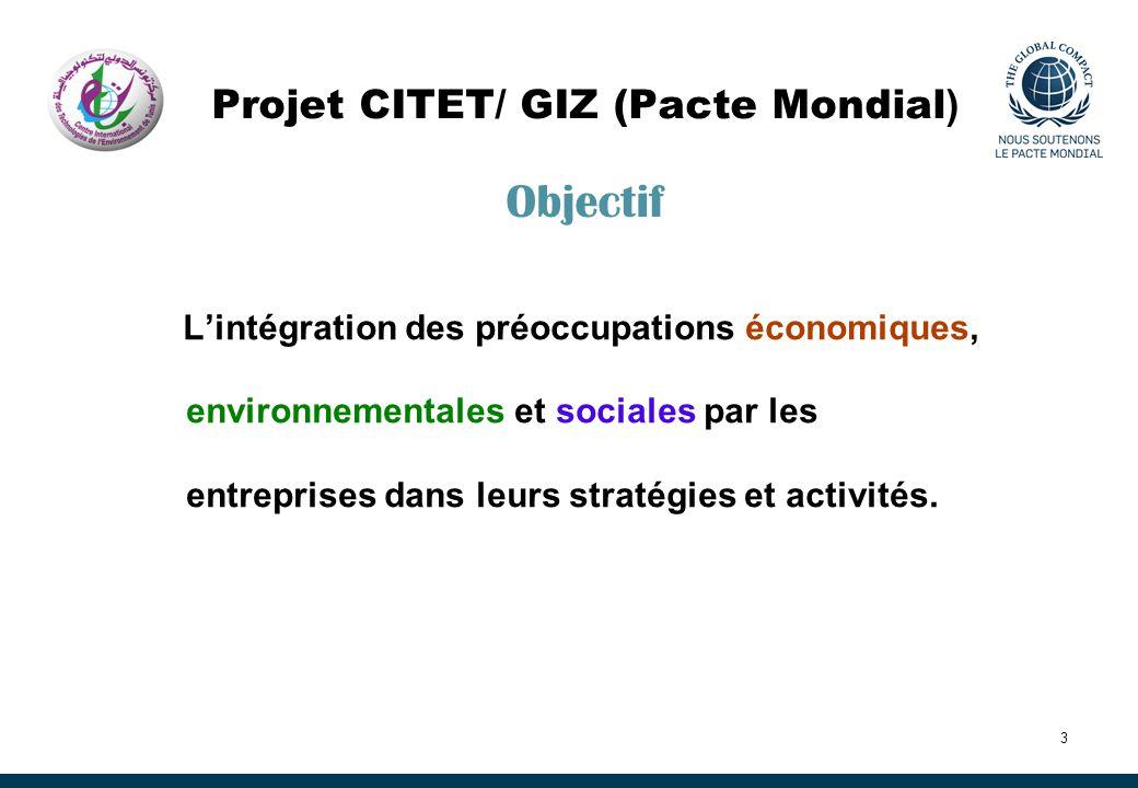 Projet CITET/ GIZ (Pacte Mondial) Objectif
