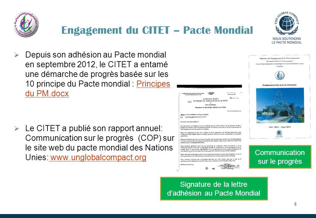 Engagement du CITET – Pacte Mondial