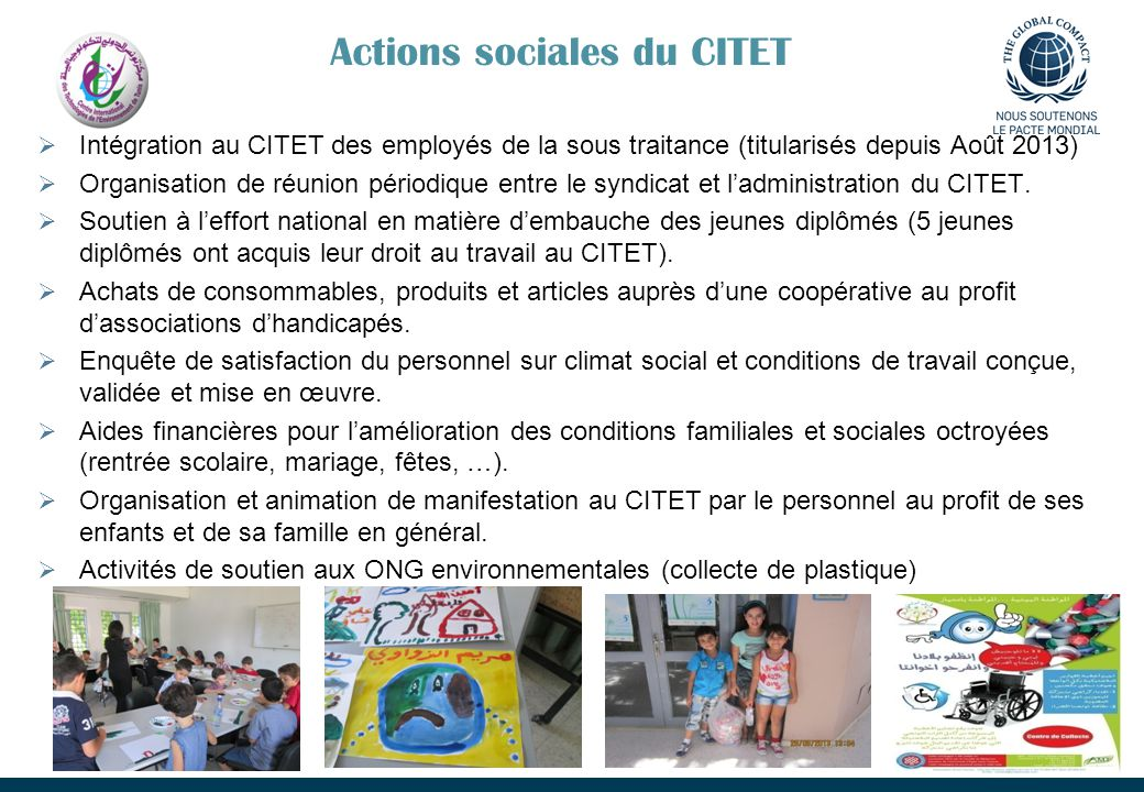 Actions sociales du CITET