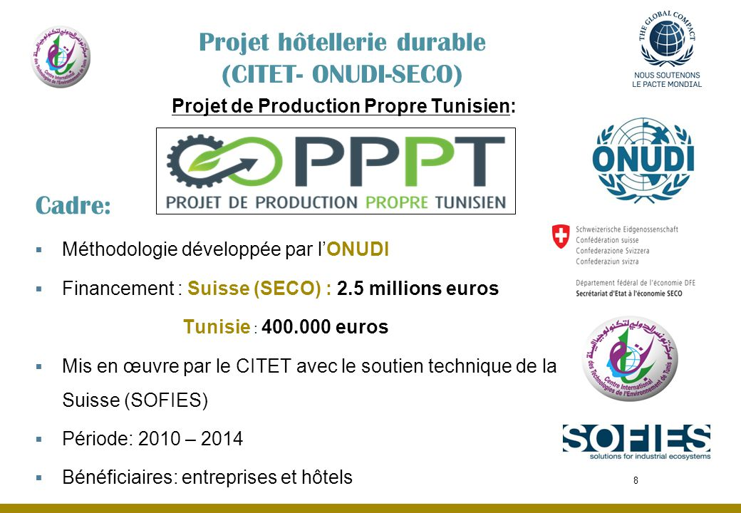 Projet hôtellerie durable (CITET- ONUDI-SECO)