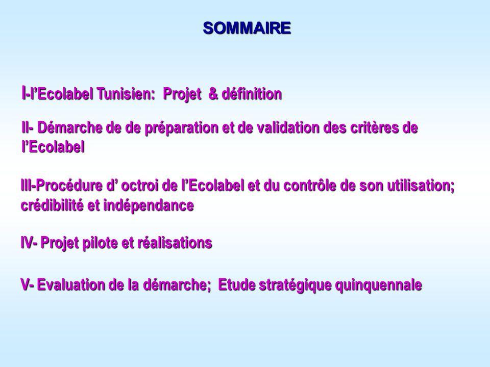 I-l'Ecolabel Tunisien: Projet & définition