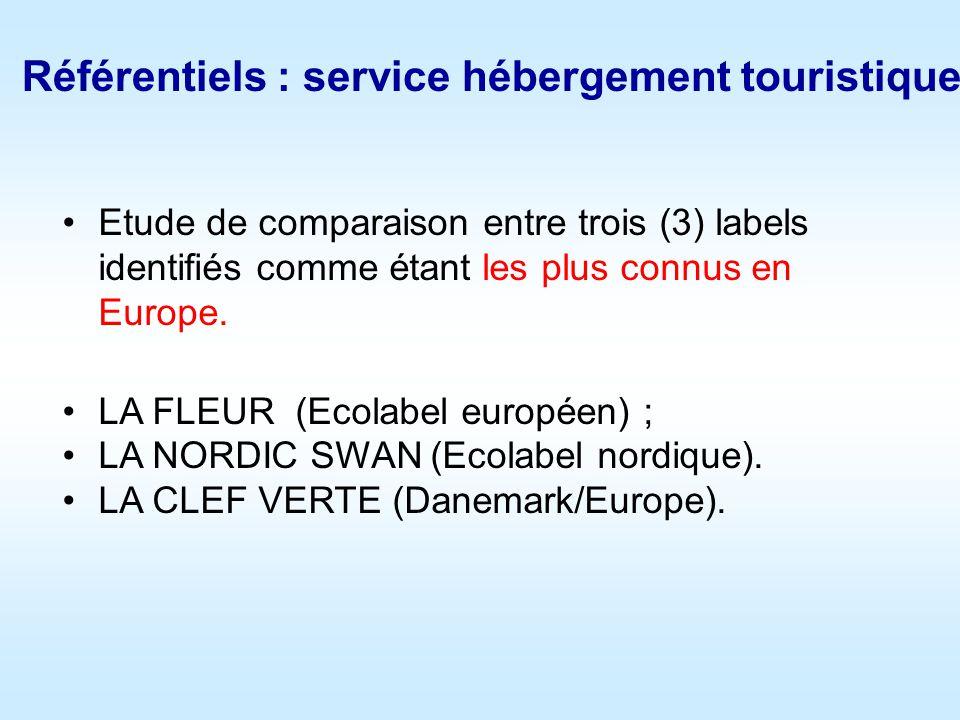 Référentiels : service hébergement touristique