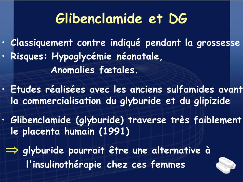 Glibenclamide et DG Classiquement contre indiqué pendant la grossesse