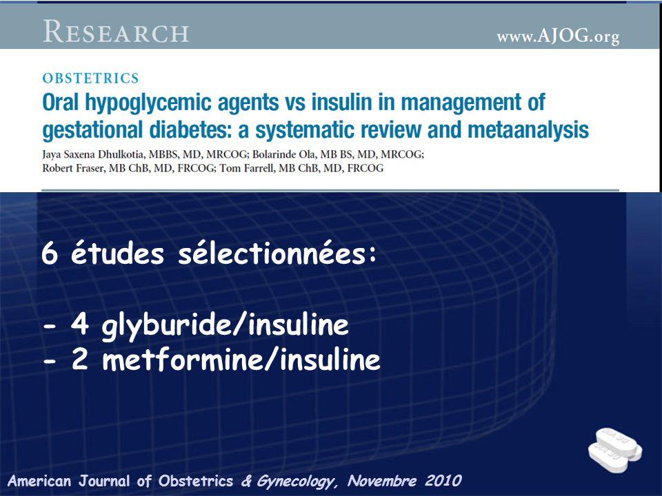 6 études sélectionnées: - 4 glyburide/insuline - 2 metformine/insuline