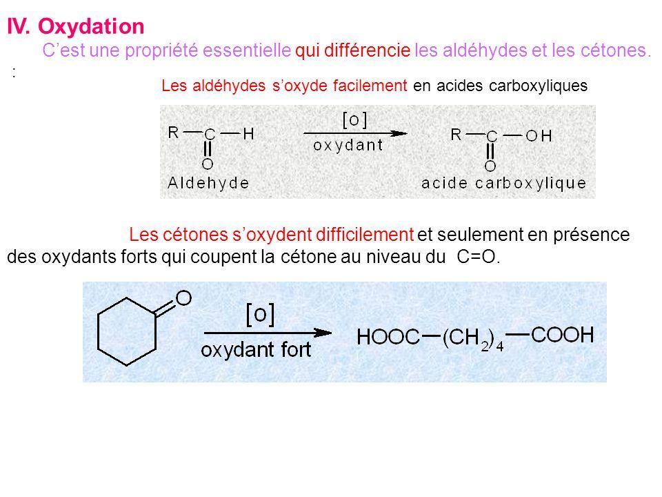 IV. Oxydation C'est une propriété essentielle qui différencie les aldéhydes et les cétones. :