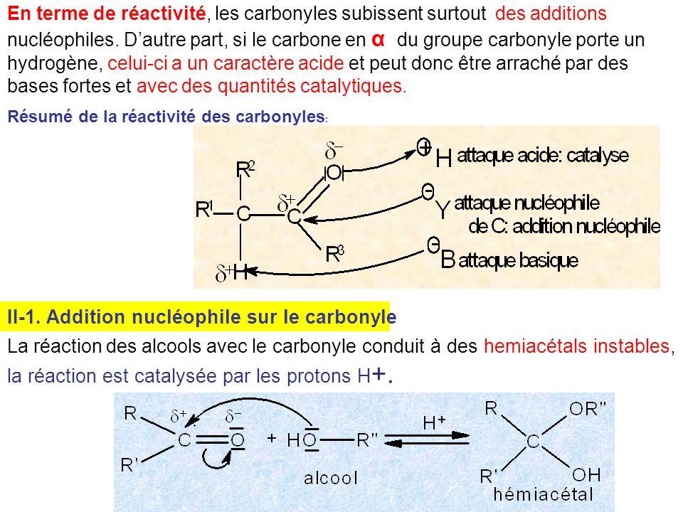 II-1. Addition nucléophile sur le carbonyle