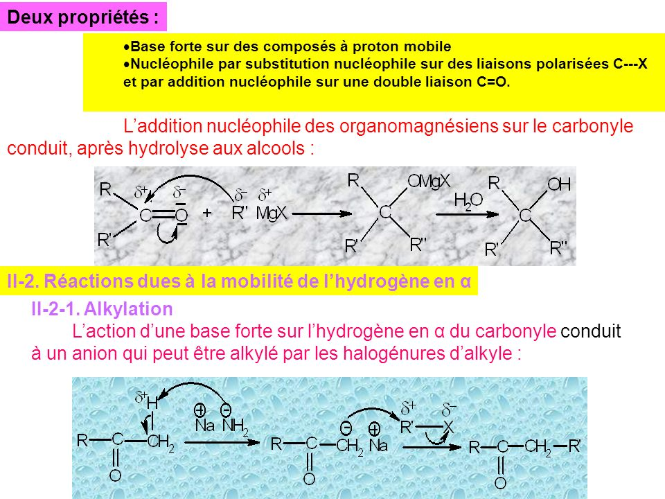 II-2. Réactions dues à la mobilité de l'hydrogène en α