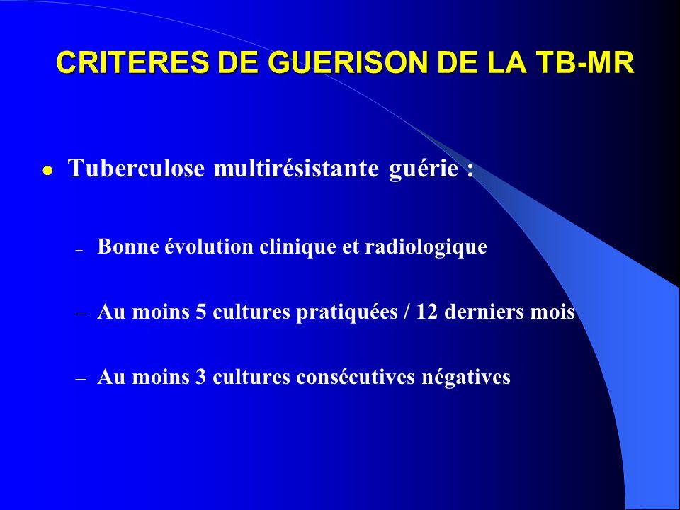 CRITERES DE GUERISON DE LA TB-MR