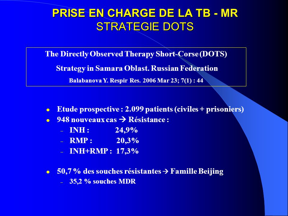 PRISE EN CHARGE DE LA TB - MR STRATEGIE DOTS