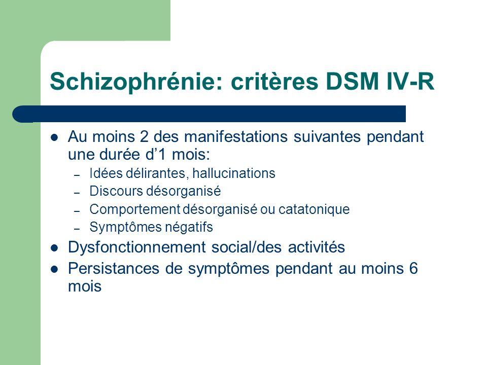 Schizophrénie: critères DSM IV-R