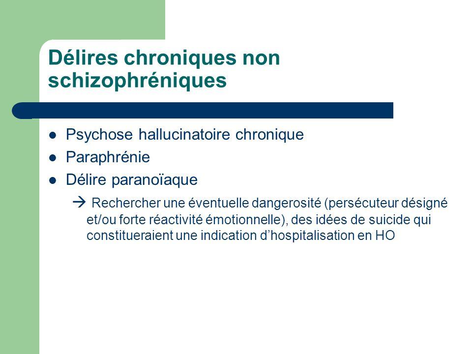 Délires chroniques non schizophréniques