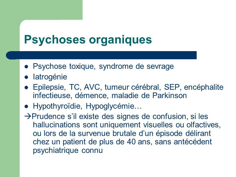 Psychoses organiques Psychose toxique, syndrome de sevrage Iatrogénie
