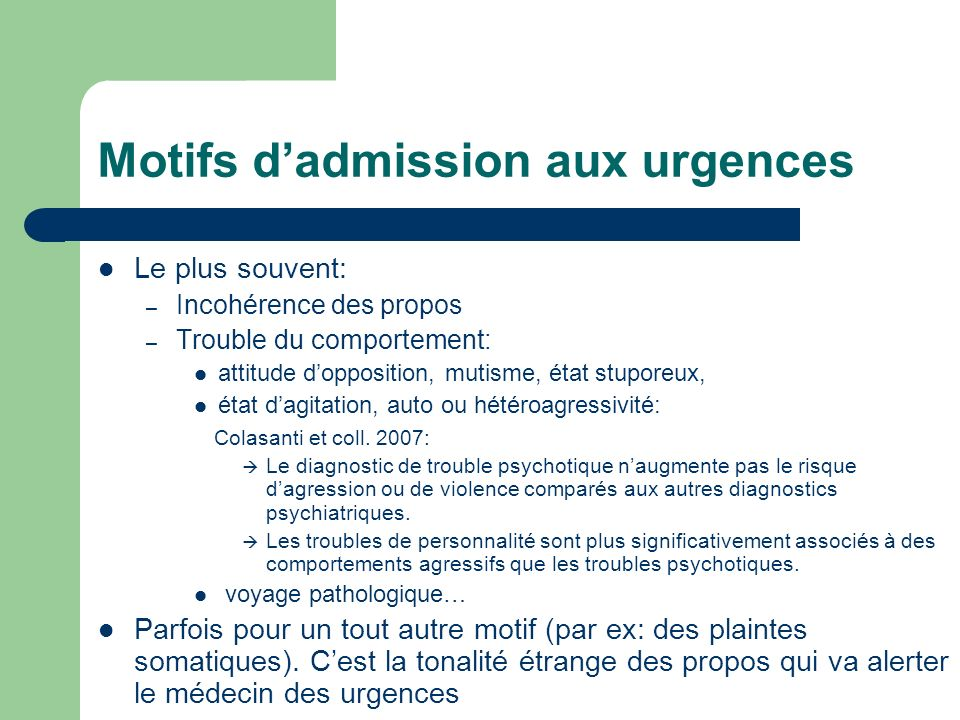 Motifs d'admission aux urgences