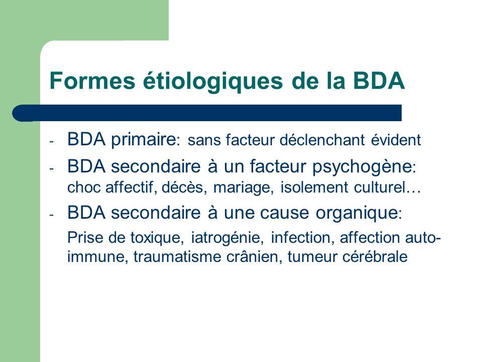 Formes étiologiques de la BDA